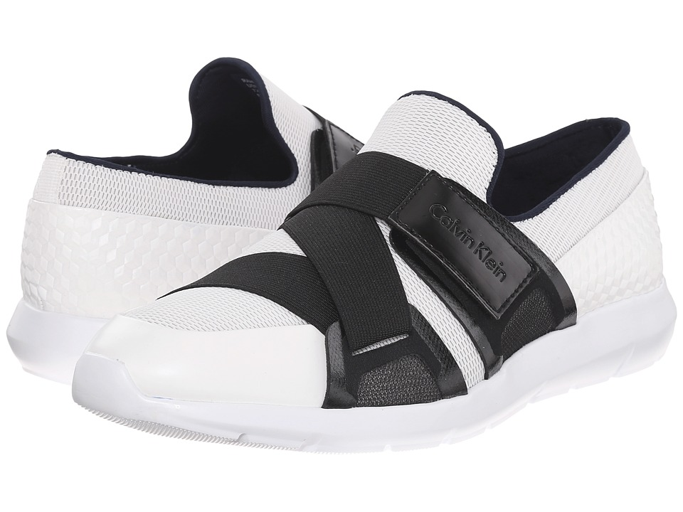 Calvin Klein - Rahul (White/Steel Mesh/Hex Emboss) Men's Hook and Loop Shoes