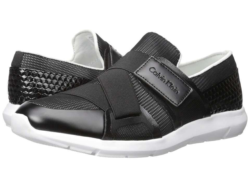 Calvin Klein - Rahul (Black/White Mesh/Hex Emboss) Men's Hook and Loop Shoes