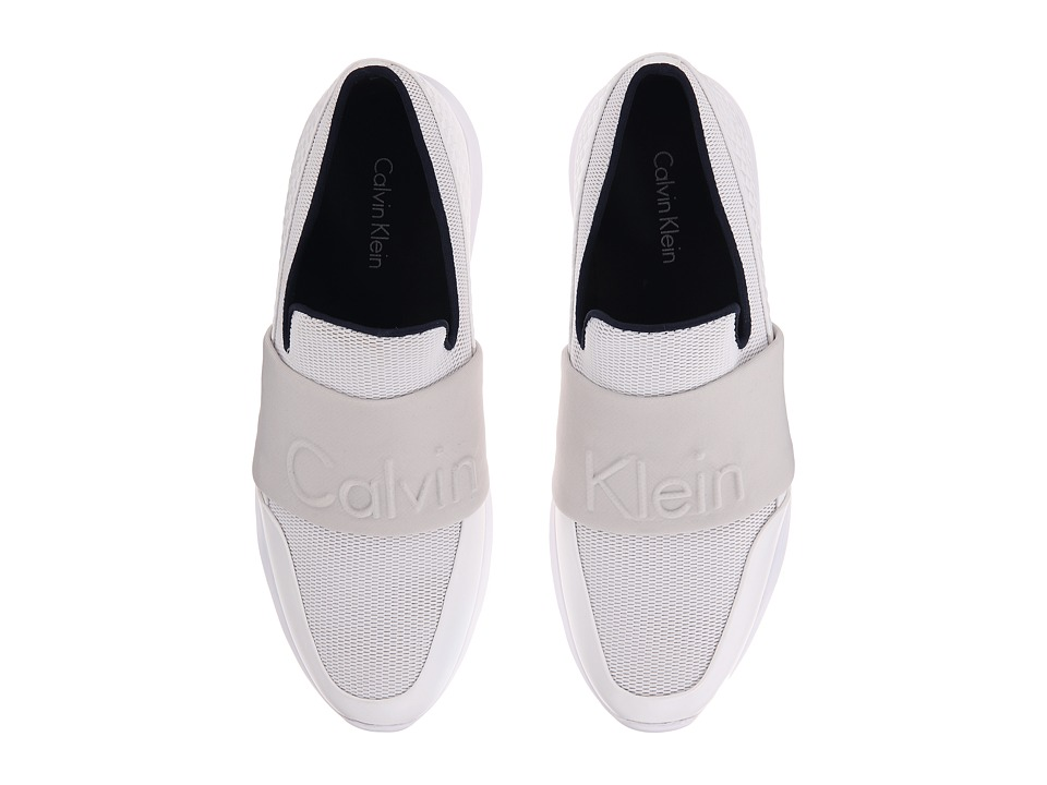 Calvin Klein - Redden (White/Steel Mesh/Hex Emboss) Men's Slip on Shoes