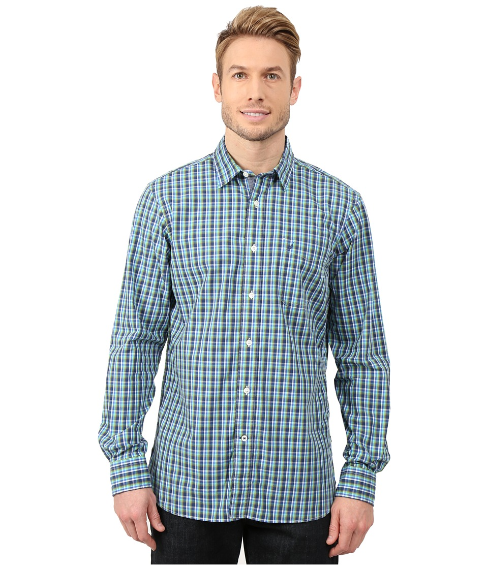 Nautica - Long Sleeve Small Plaid with Pocket (Estate Blue) Men's Clothing
