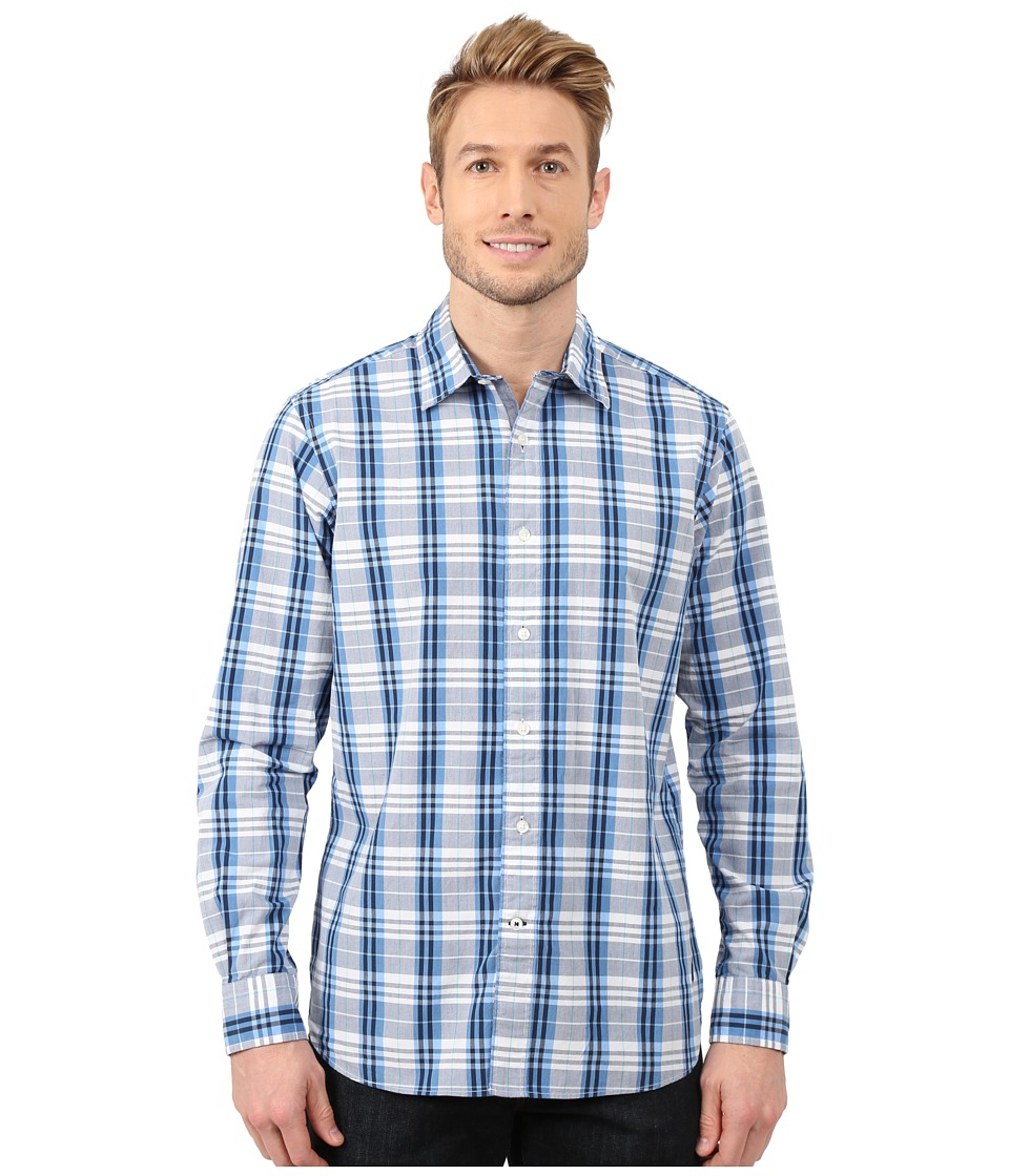 Nautica - Long Sleeve Poplin Large Plaid (Blue Charm) Men's Clothing