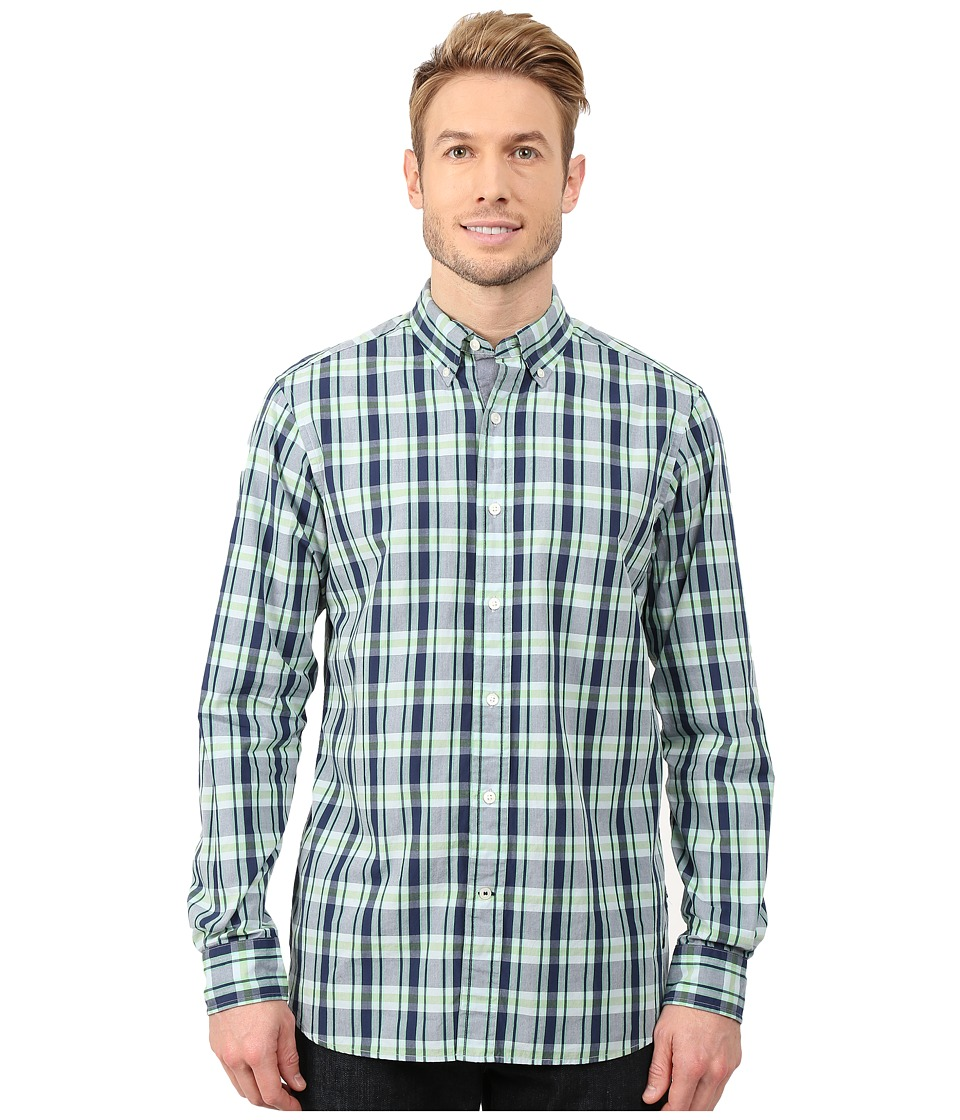 Nautica - Long Sleeve Poplin Medium Plaid (Tropical Foliag) Men's Clothing