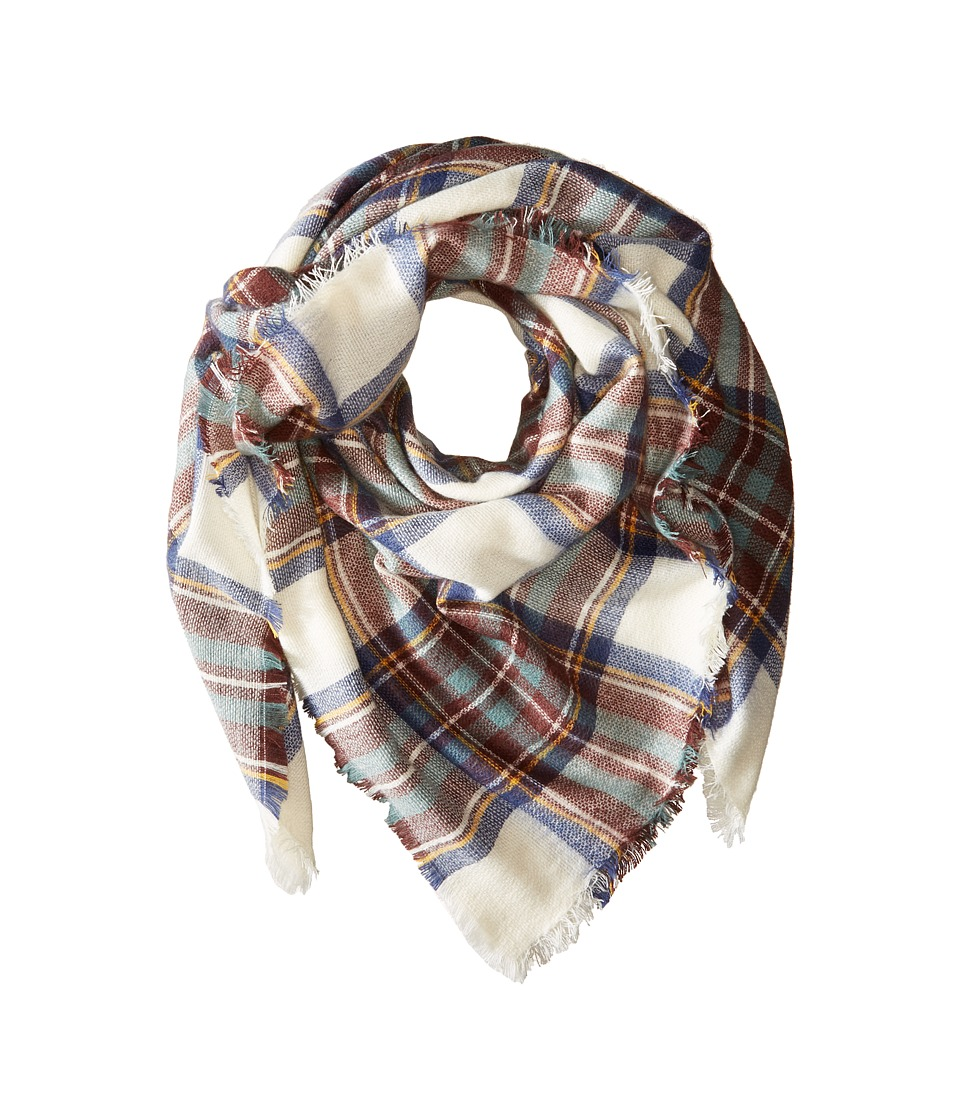 Hat Attack - Plaid Blanket Scarf (Denim Plaid) Scarves