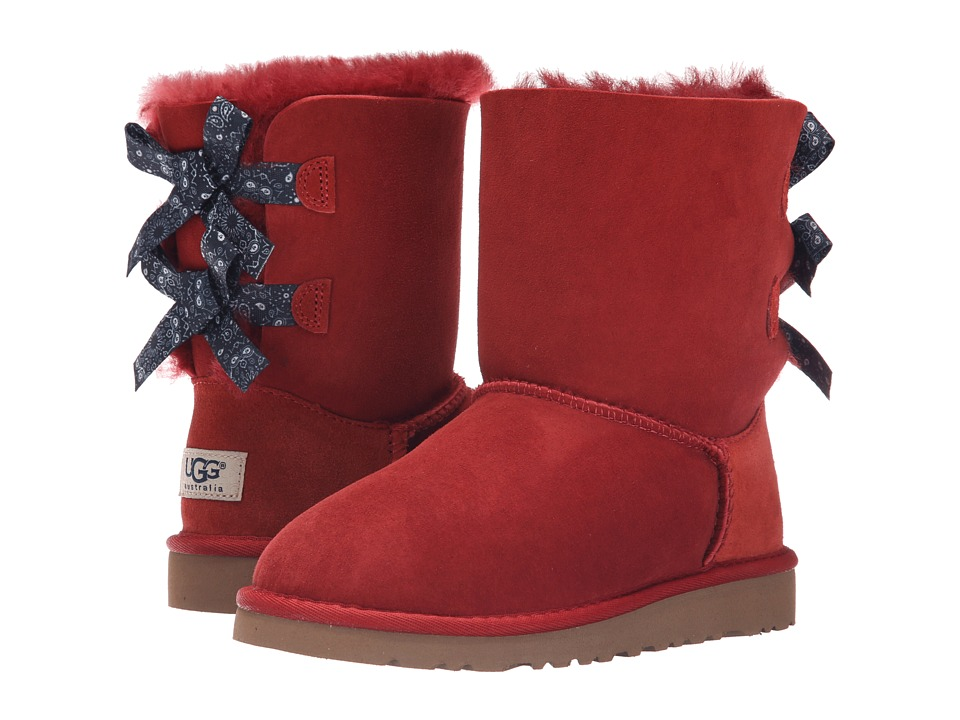UGG Kids Bailey Bow Bandana (Little Kid/Big Kid) (Matador Red Twinface) Girls Shoes