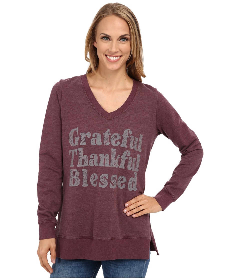 CJ by Cookie Johnson - Grateful Thankful Blessed Sweatshirt (Burgundy) Women