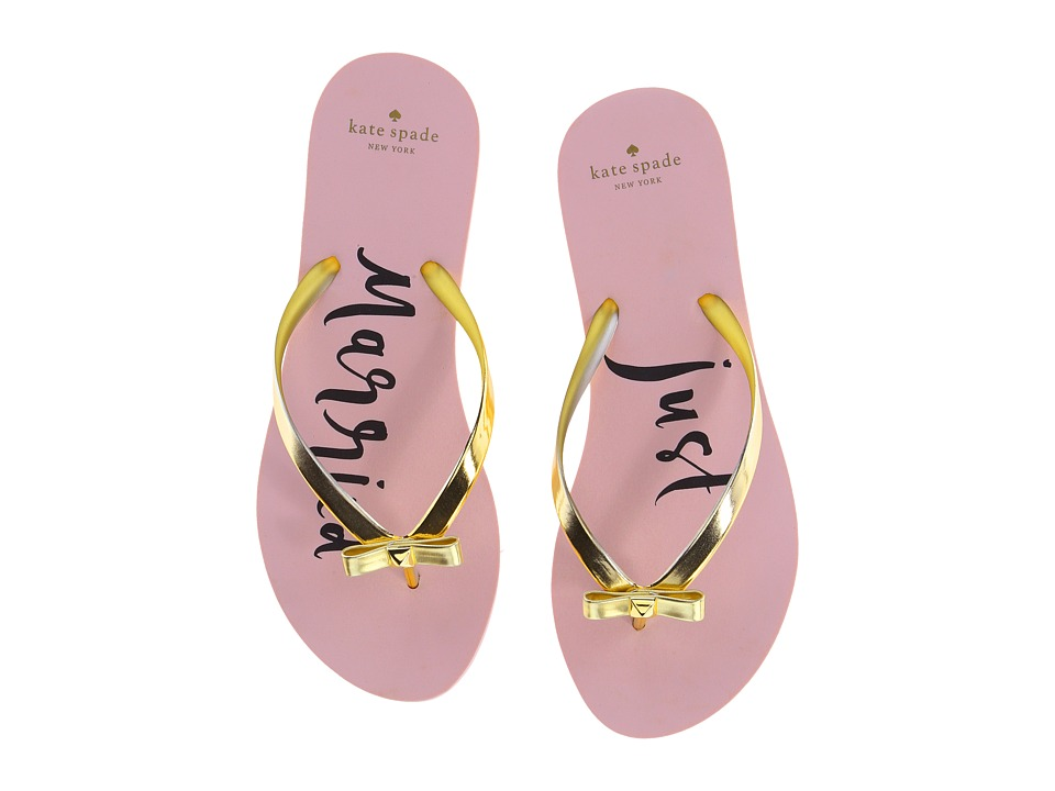 Kate Spade New York - Nadine (Gold Coated Rubber/Just Married Print) Women's Shoes