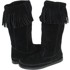 Minnetonka Three in One Calf Hi Boot (Black Suede) Footwear