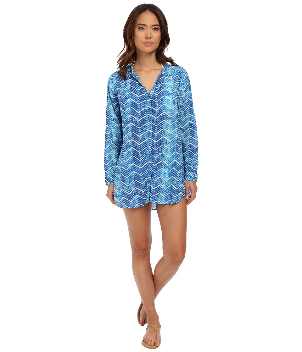 LAUREN Ralph Lauren - Herringbone Camp Shirt Tail Cover-Up (Ocean) Women's Swimwear
