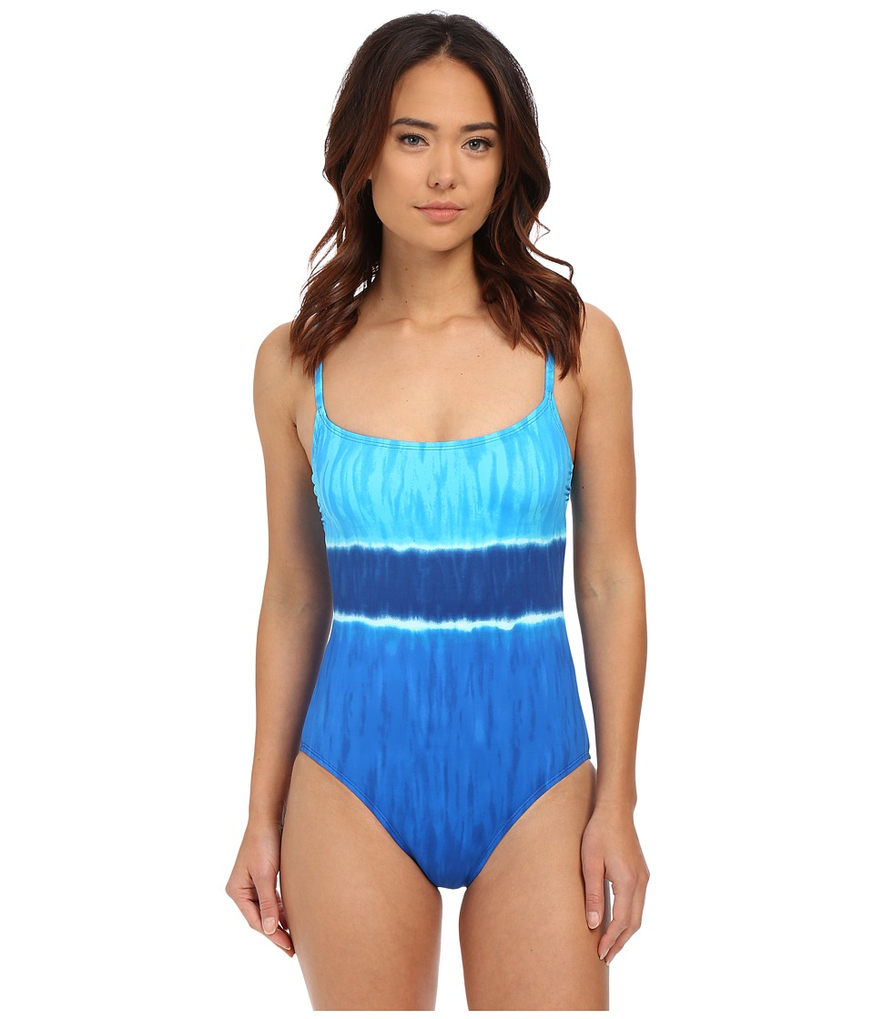 LAUREN Ralph Lauren - Engineered Tie-Dye Lingerie Mio (Ocean) Women's Swimsuits One Piece