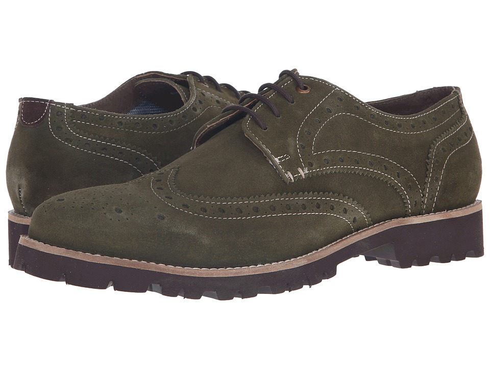 Lotus - Evan (Green Suede) Men's Lace Up Wing Tip Shoes