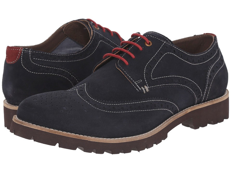 Lotus - Evan (Navy Suede) Men's Lace Up Wing Tip Shoes