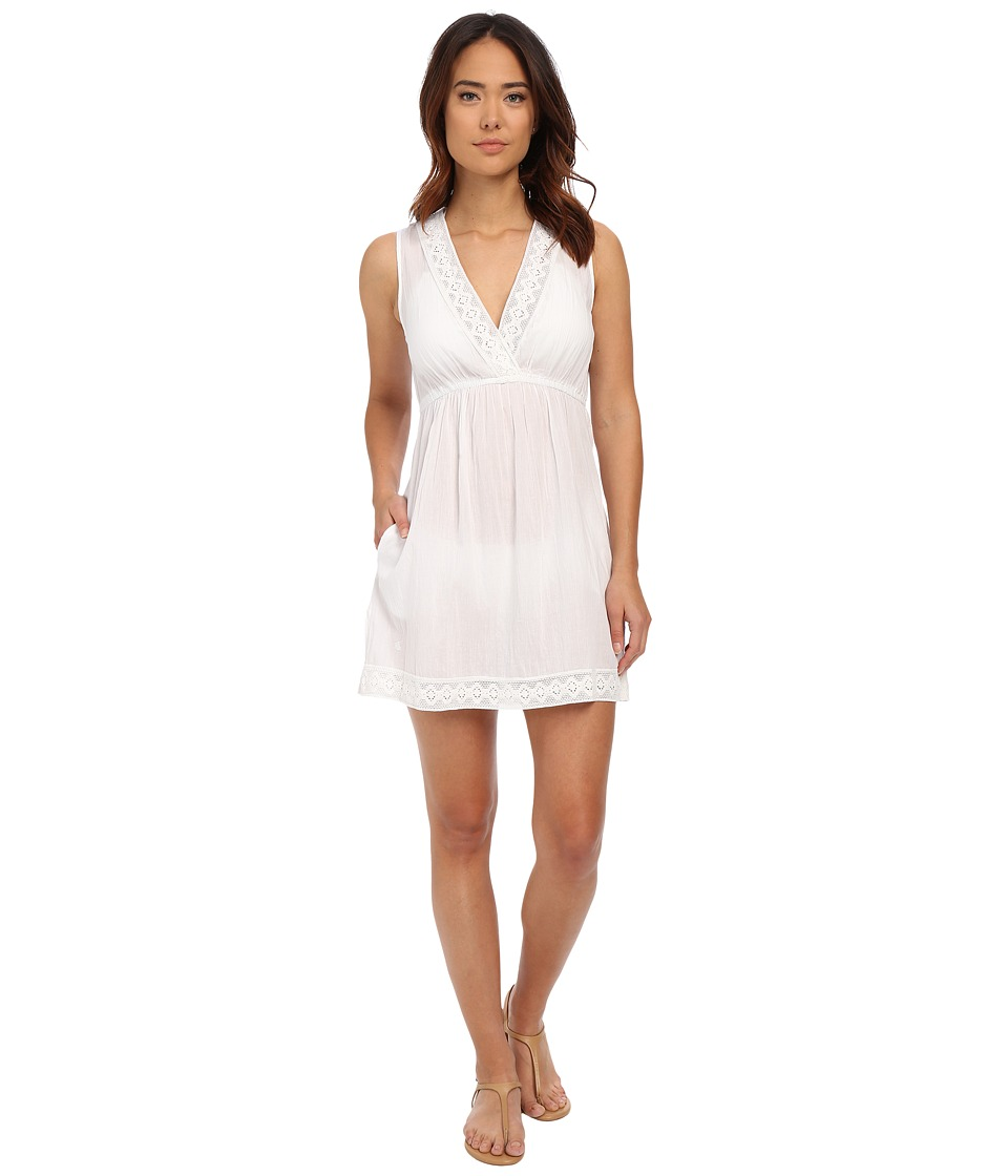 LAUREN Ralph Lauren - Lace Trim Crushed Cotton Kayla Dress Cover-Up (White) Women's Swimwear
