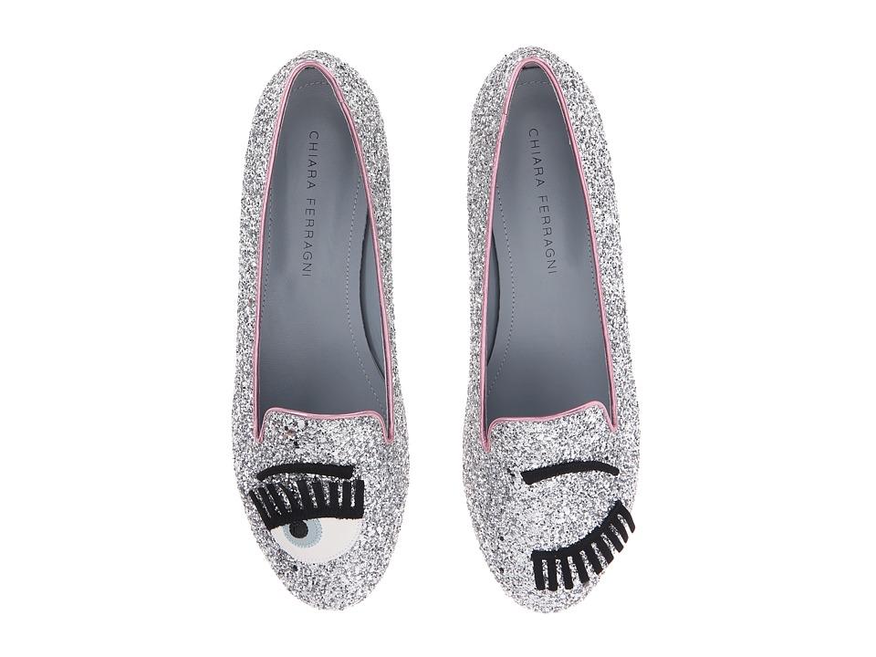 Chiara Ferragni - Glitter Flirting Round Flat (Silver/Pink Trim) Women