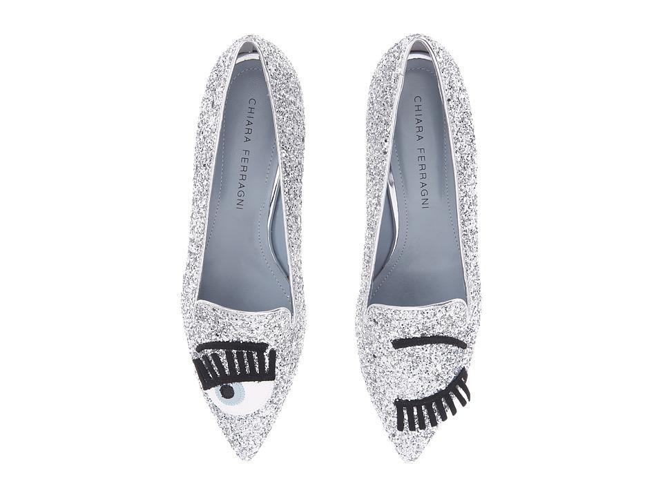 Chiara Ferragni Glitter Flirting Pointed Toe Flat (Silver) Women