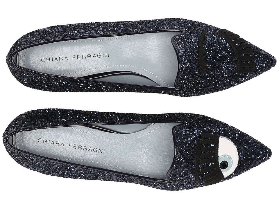 Chiara Ferragni - Glitter Flirting Pointed Toe Flat (Navy) Women's Dress Flat Shoes