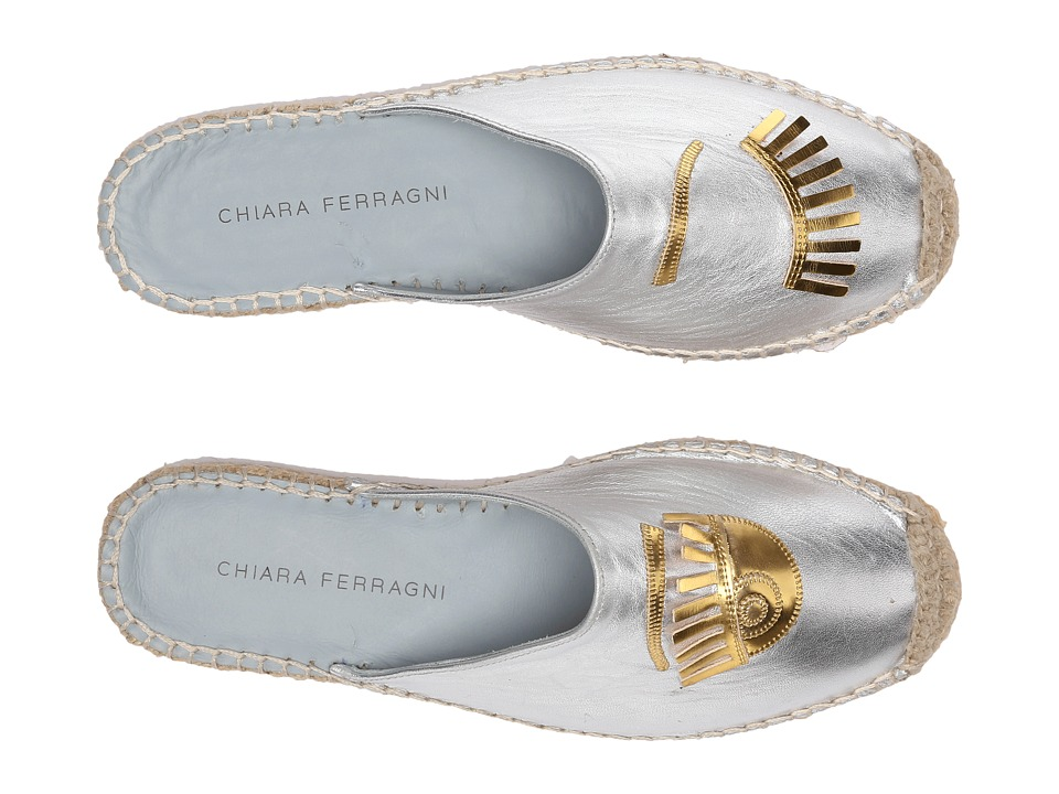Chiara Ferragni - Metallic Flirting Espadrille Mules (Silver/Gold Trim) Women's Shoes