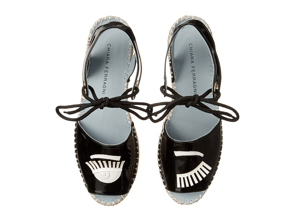 Chiara Ferragni - Patent Flirting Espadrille (Black/White Trim) Women's Shoes