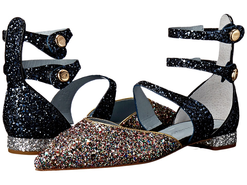 Chiara Ferragni - Jackie Glitter Pointy Toe Flat (Multi/Navy Trim) Women's Shoes