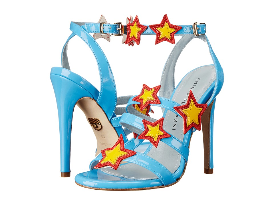 Chiara Ferragni Stars Patent Strappy Heels (Light Blue/Red/Yellow Trim) Women
