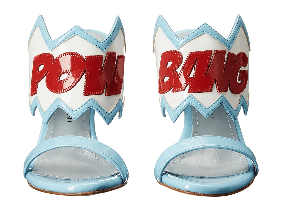 Chiara Ferragni Pow Bang Sandal Heels (Light Blue/White/Red Trim) Women