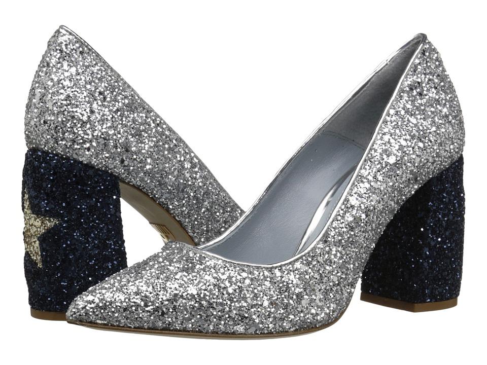 Chiara Ferragni - Star Glitter Chunky Heel (Silver/Navy) Women's Shoes