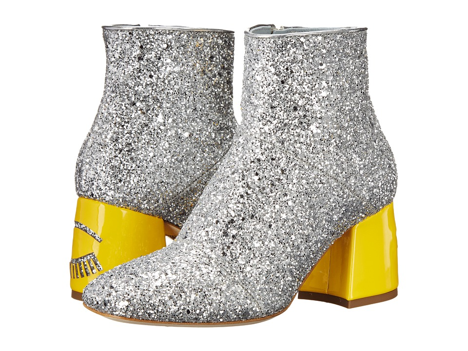 Chiara Ferragni - Flirting Glitter Ankle Boot (Silver/Yellow) Women's Shoes