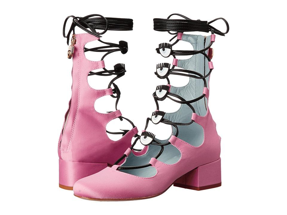 Chiara Ferragni Logo Satin Heel (Pink) Women