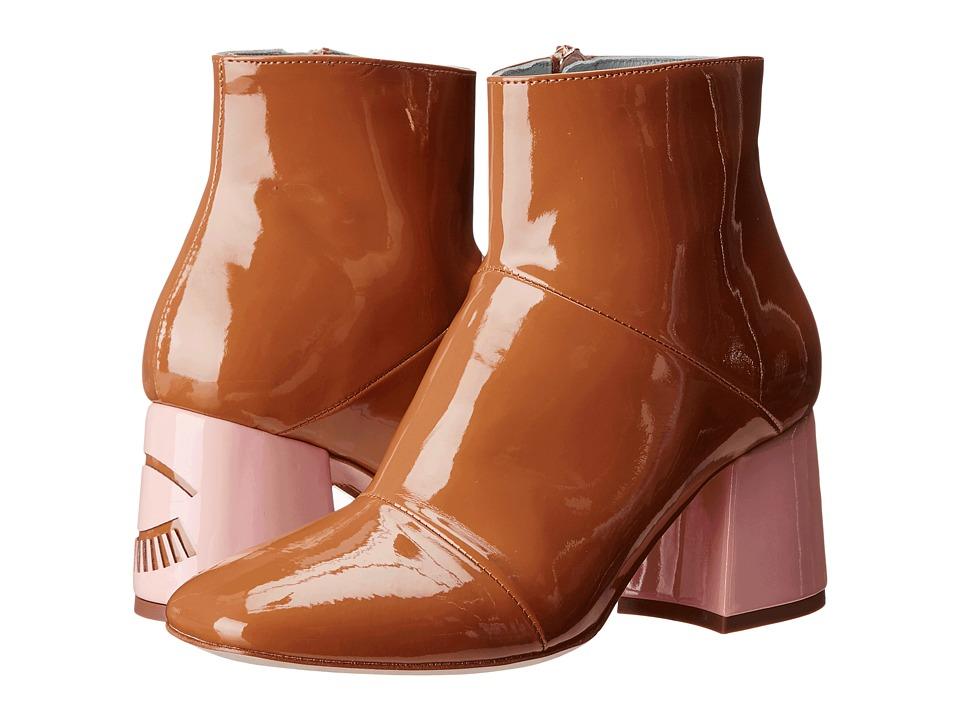 Chiara Ferragni - Flirting Patent Ankle Boot (Camel/Pink) Women
