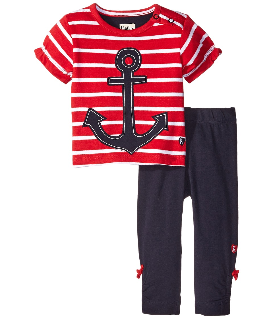 Hatley Kids - Scattered Anchors Playset (Infant) (Red) Girl's Pajama Sets
