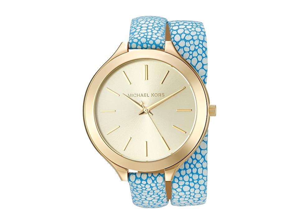 Michael Kors - Slim Runway (MK2478 - Gold/Blue) Analog Watches
