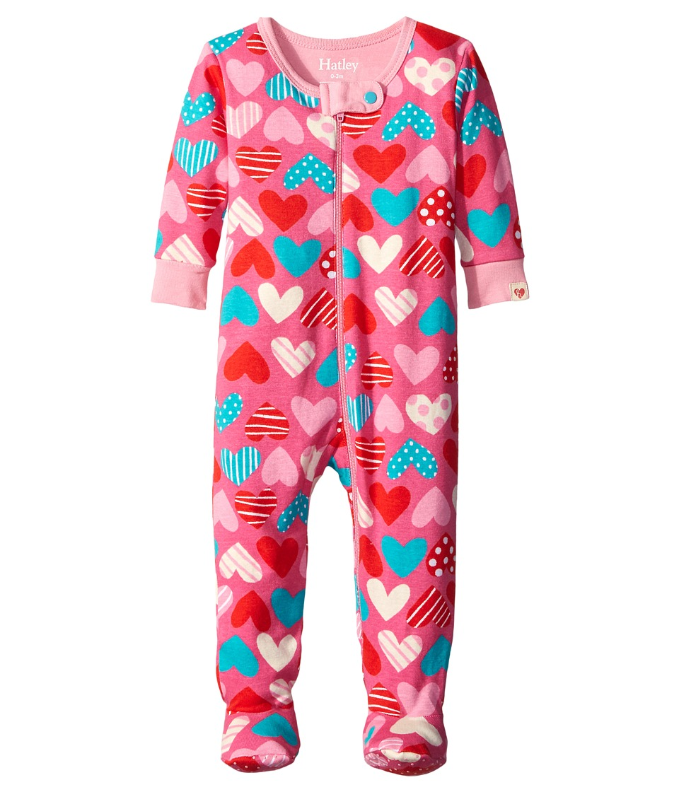 Hatley Kids - Crazy Hearts Footed Coverall (Infant) (Pink) Girl's Jumpsuit & Rompers One Piece