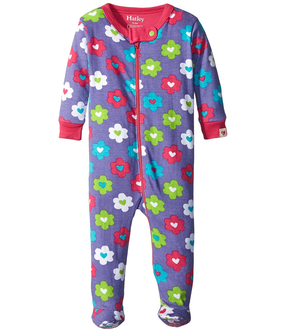 Hatley Kids - Flower Hearts Footed Coverall (Infant) (Purple) Girl's Jumpsuit & Rompers One Piece
