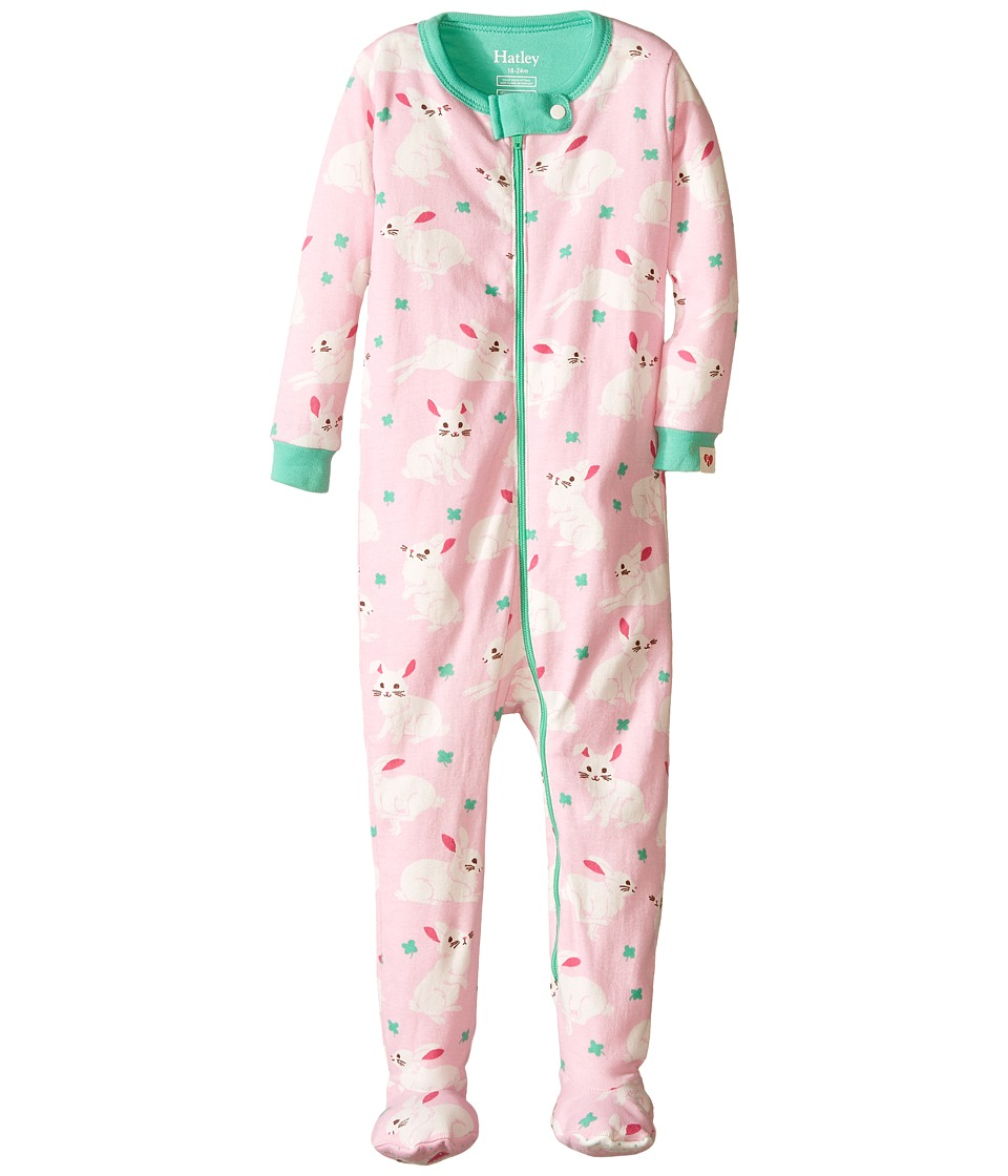 Hatley Kids - Spring Bunnies Footed Coverall (Infant) (Pink) Girl's Jumpsuit & Rompers One Piece