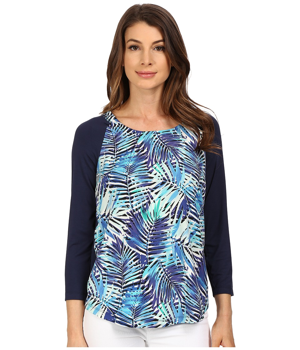 NYDJ - 3/4 Sleeve Mixed Media Tee (Tropicana Leaves) Women