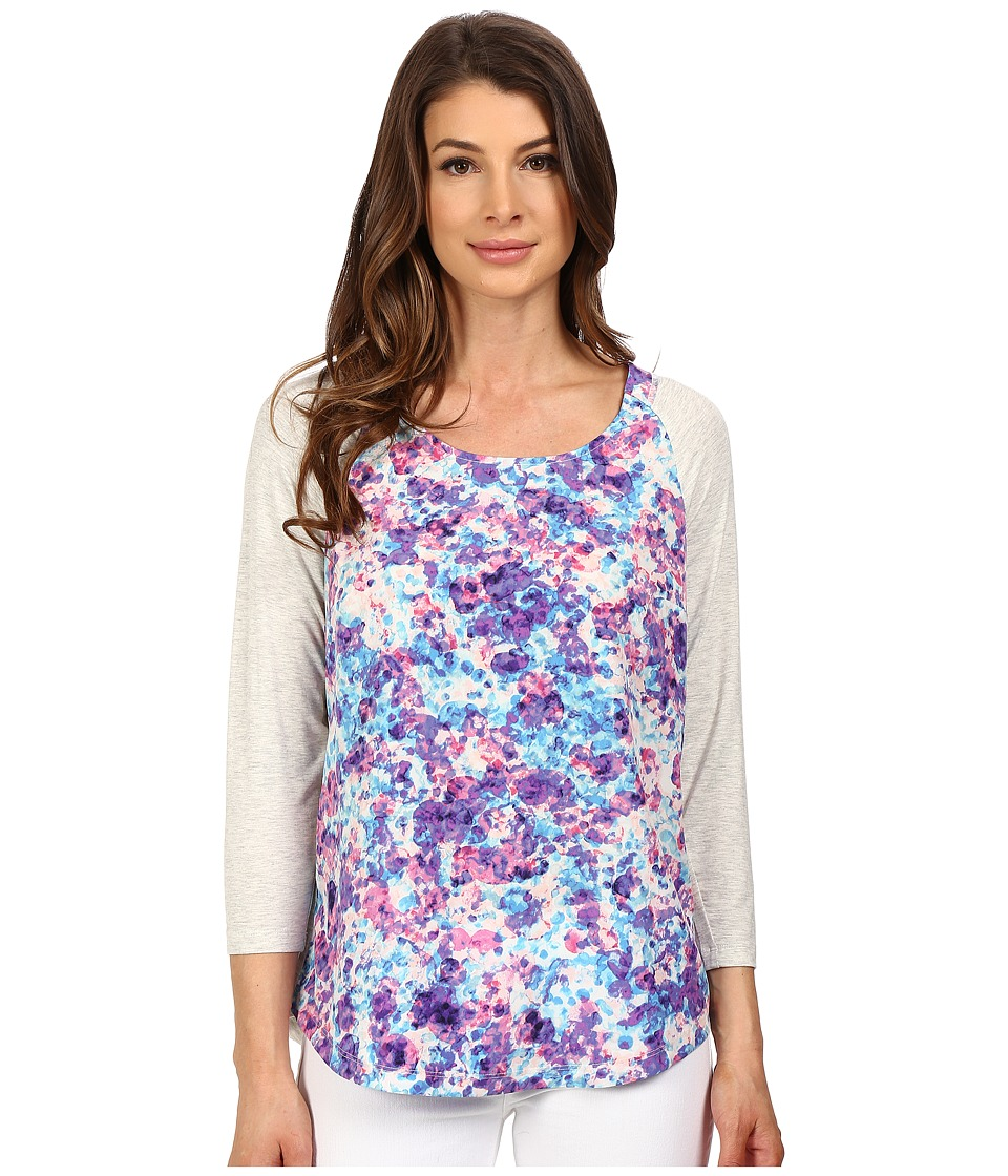 NYDJ - 3/4 Sleeve Mixed Media Tee (Begonia Flourish) Women