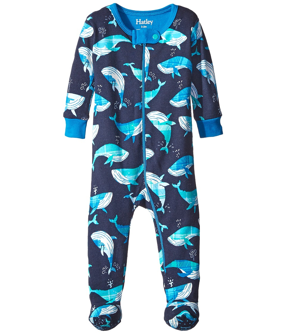 Hatley Kids - Plaid Whales Footed Coverall (Infant) (Blue) Boy's Jumpsuit & Rompers One Piece