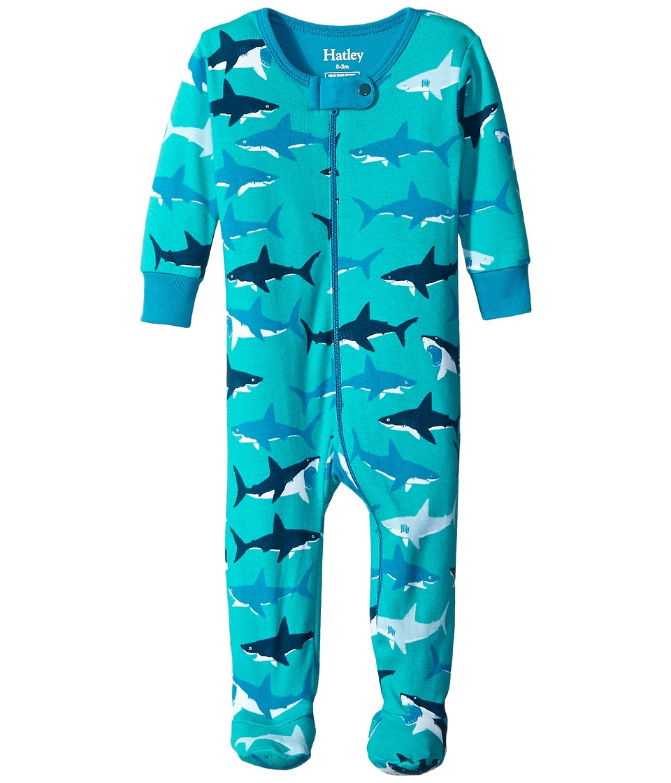 Hatley Kids - Great White Sharks Footed Coverall (Infant) (Blue) Boy's Jumpsuit & Rompers One Piece