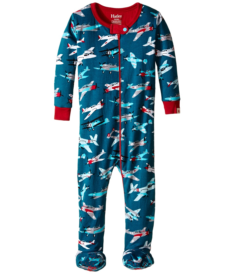 Hatley Kids - Fighter Planes Footed Coverall (Infant) (Blue) Boy's Jumpsuit & Rompers One Piece