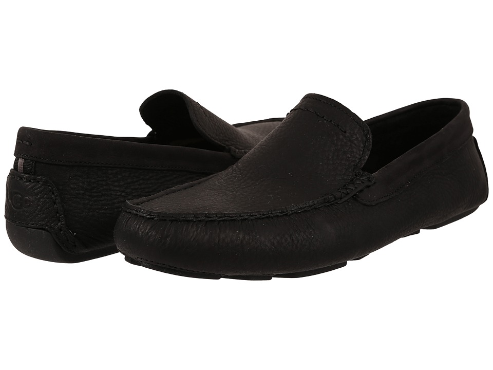 UGG - Henrick (Black Leather) Men's Slip on Shoes