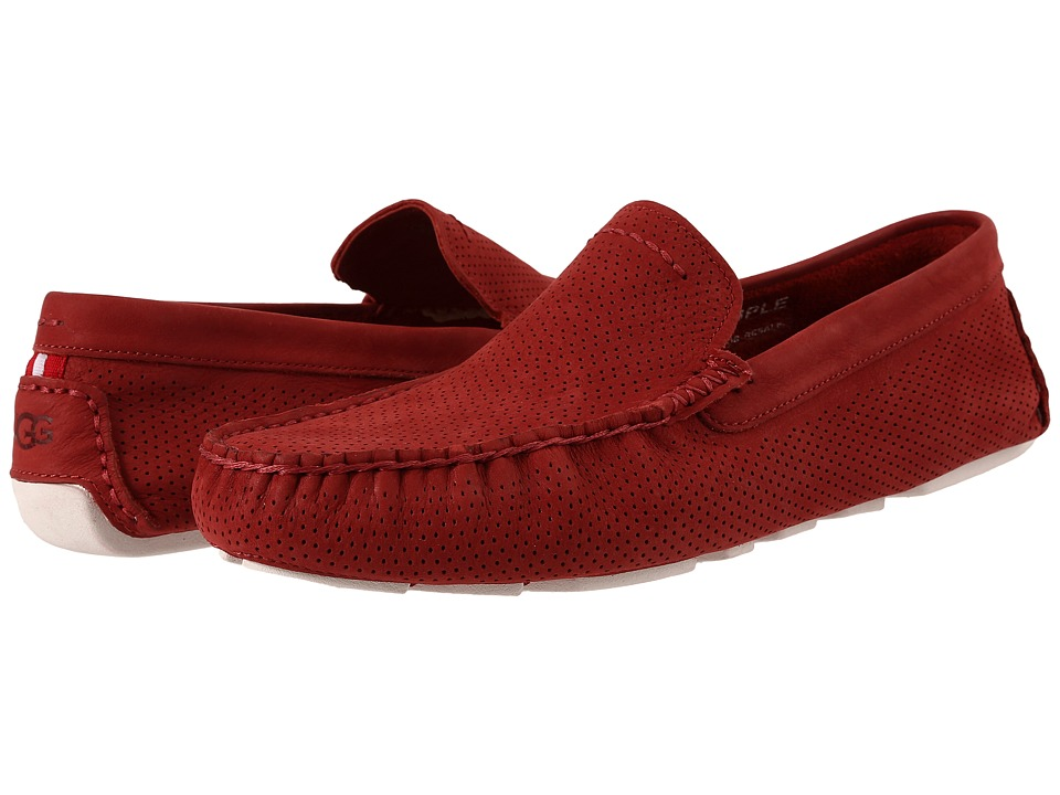 UGG - Henrick Perforated (Matador Red Nubuck) Men's Slip on Shoes