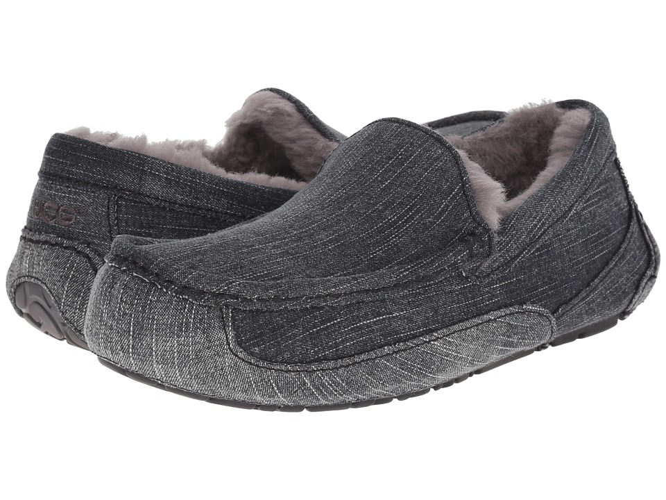 UGG - Ascot Washed Denim (Black Denim) Men's Slip on Shoes