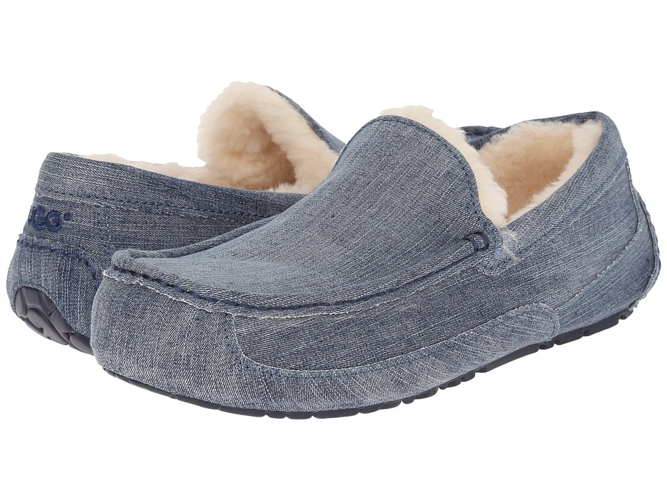 UGG - Ascot Washed Denim (Navy Denim) Men's Slip on Shoes
