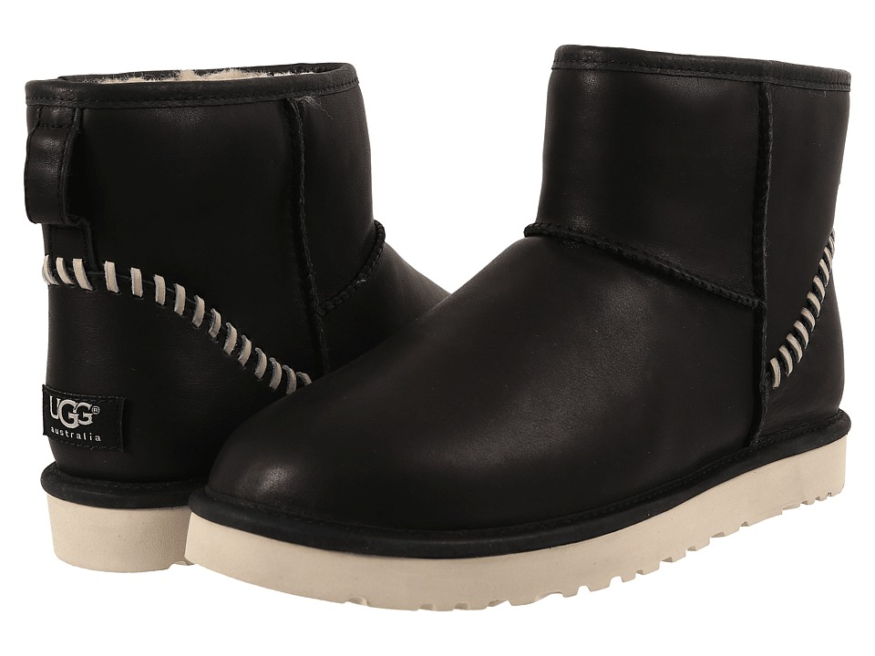 UGG - Classic Mini Deco (Black Leather 1) Men's Boots