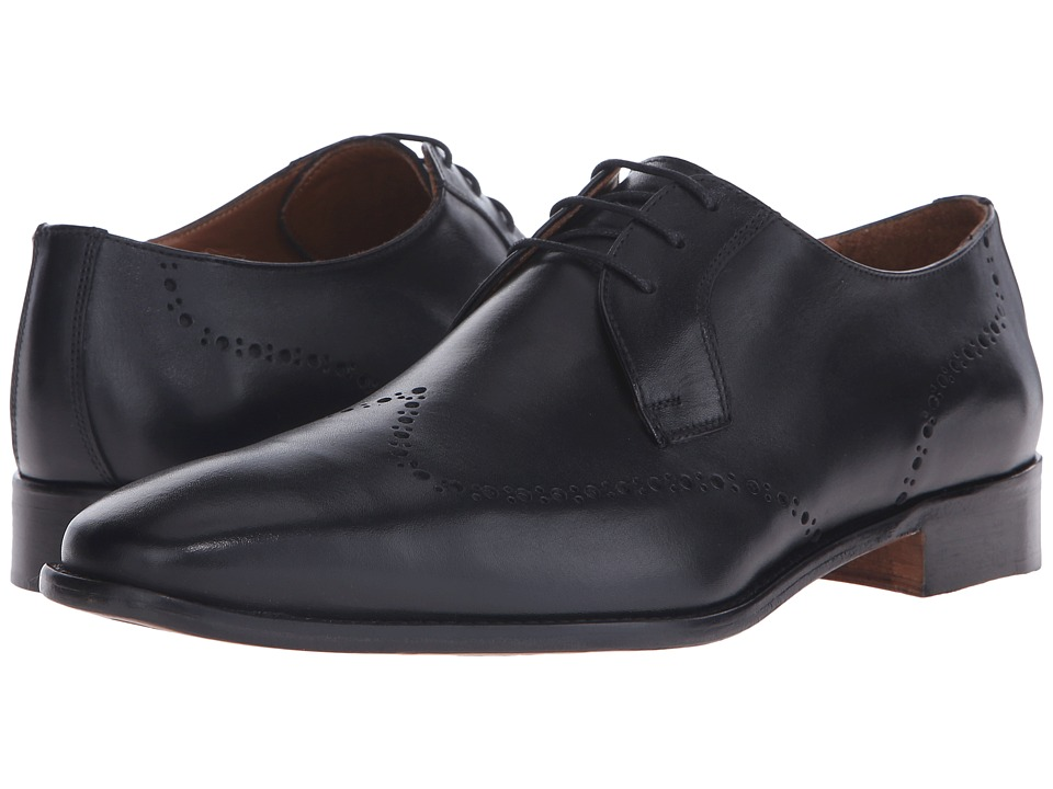 Massimo Matteo - 3-Eye Whole Cut Blucher (Black) Men's Lace Up Wing Tip Shoes