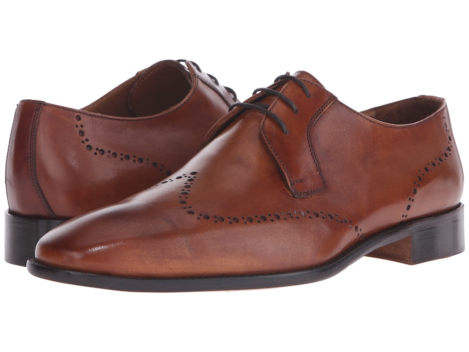 Massimo Matteo - 3-Eye Whole Cut Blucher (Cognac) Men's Lace Up Wing Tip Shoes