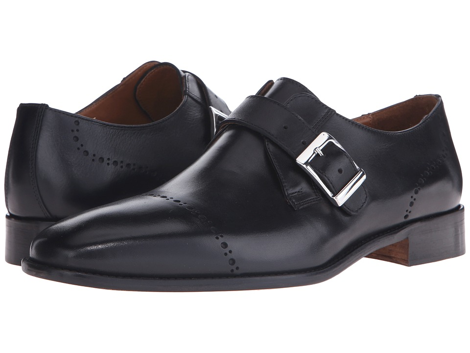 Massimo Matteo - Diamond Perf Monk Strap (Black) Men's Monkstrap Shoes