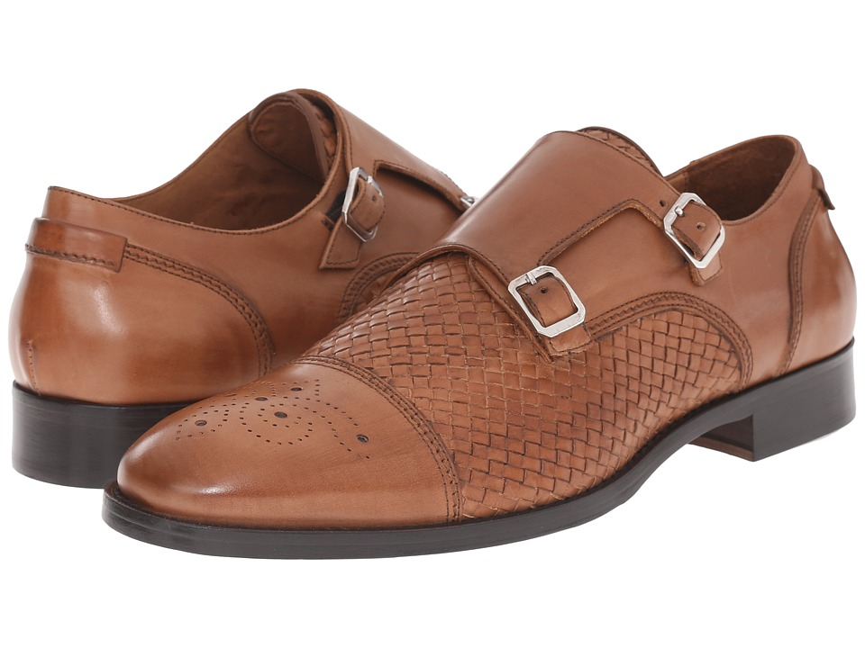 Massimo Matteo - Woven Double Monk with Medallion (Tan) Men's Monkstrap Shoes