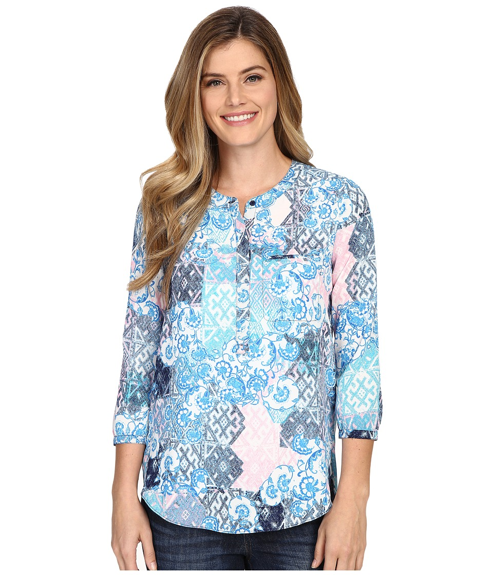 NYDJ - Solid 3/4 Sleeve Pleat Back (Verbena Patchwork) Women's Blouse
