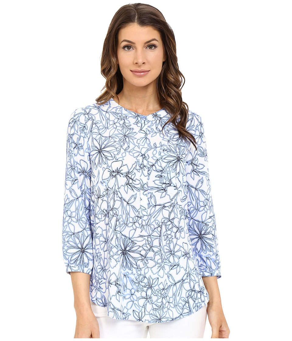 NYDJ - Solid 3/4 Sleeve Pleat Back (Fanciful Floral Sketch) Women's Blouse