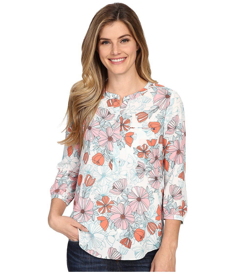 NYDJ - Solid 3/4 Sleeve Pleat Back (Bonne Nouvelle Fleur) Women's Blouse